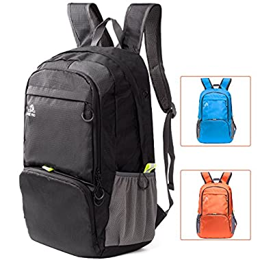Waterproof Travel Backpack Daypack ,Cobiz 30L Ultralight Packable Laptop Hiking/Camping Backpack For Women Kids -Built In Safety Pocket丨Two Space丨Headphone Jack丨Safety Reflector Strip