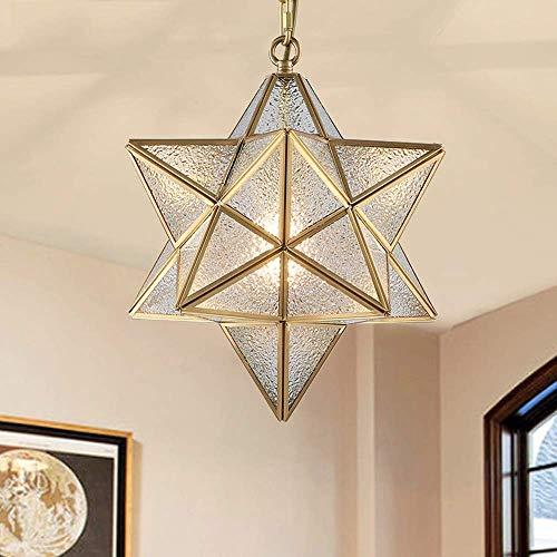 MJK Lámpara de araña americana Creative All-Copper Star de cristal, lámpara de araña antigua, industrial, restaurante, bar, 40 x 40 cm, dorado, All Copper Nordic