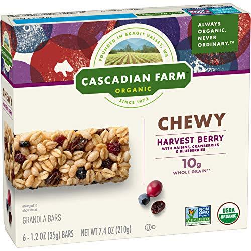 Cascadian Farm Chewy Granola Bar Organic non-GMO Harvest Berry 6 - 1.2 oz Bars