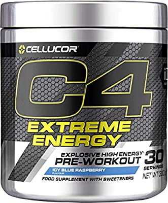 C4 Extreme Energy Pre Workout Powder ICY Blue Raspberry | Sugar Free Preworkout Energy Drink Supplement for Men & Women | 300mg Caffeine + Beta Alanine + Creatine Monohydrate | 30 Servings