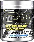 Cellucor - Poudre pré-entraînement C4 Extreme Energy - énergie explosive - framboise bleue glacée - 30 portions