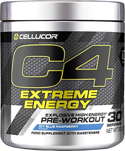 Poudre pré-entraînement C4 Extreme Energy - framboise bleue glacée | boisson énergisante pré-entraînement sans sucre | 300 mg de caféine + bêta-alanine + monohydrate de créatine | 30 portions