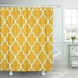 CICIDI Cortina de ducha de tela decorativa para baño, diseño clásico, moderno, vintage, marroquí, color amarillo mostaza, 182 x 182 cm, impermeable, respetuosa con el medio ambiente