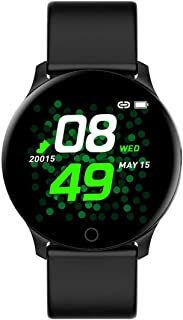 """Bouncefit Vector 2 Round Smartwatch (Black) [iOS/Android Compatible, IP67 Water Resistant, White Silicone Strap, 1.3"""" OLED..."""