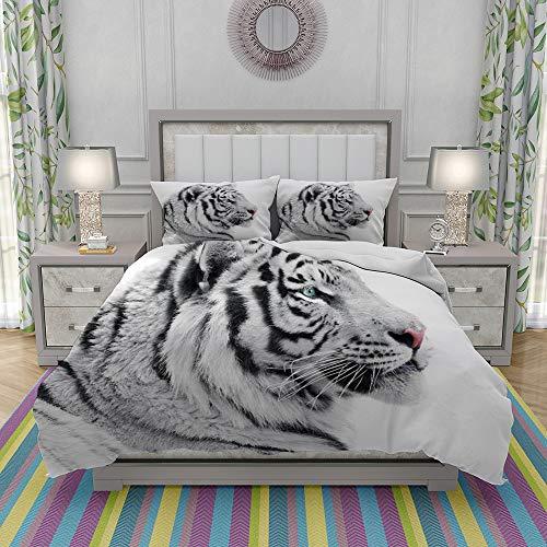 REIOIYE Duvet Cover Set-Bedding,Proud White Tiger,Quilt Cover Bedlinen-Microfibre 200x200cm with 2 Pillowcase 50x80cm