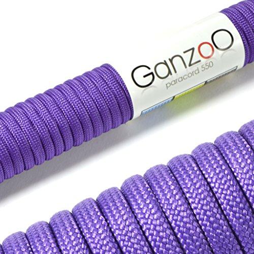 Paracorde 550, corde de survie à usages multiples et ultra-résistante, corde de parachute, corde gainée en nylon, longueur totale: 15m, couleur: violet – ATTENTION: NE PAS UTILISER CETTE CORDE POUR L'ESCALADE, de la marque Ganzoo