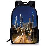 Hui-Shop Zaini scolastici Urbani, Immagine di Atlanta Skyline Twilight con Autostrada edifici grattacieli offuscata Movimento, Multicolore per Le Ragazze dei Ragazzi