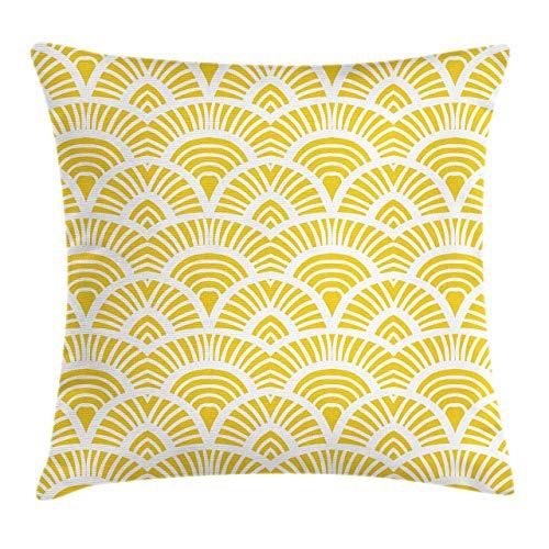 Nixboser Funda de almohada cuadrada de poliéster, estilo tradicional japonés, estilo abstracto de media círculo, diseño de flores de mostaza, para sofá, habitación, tamaño de 60 x 60,9 cm