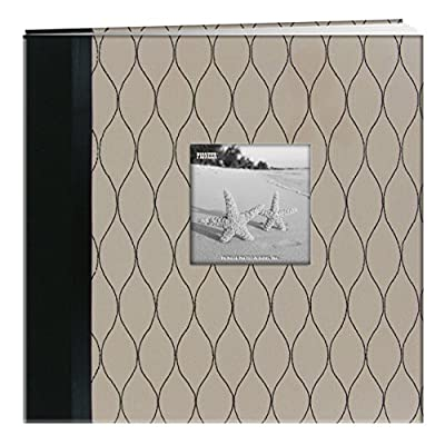 """Pioneer Photo Albums Marquis Embroidered Fabric Frame Cover Post Bound Scrapbook, 12 x 12 x 12"""", Beige/Black"""