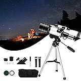 InLoveArts Telescopio para astronomía, Aumento de 150X y telescopio básico de Calibre 70 mm, fácil de Montar y Usar, con trípode, buscador, Soporte para teléfono, Filtro Lunar, Mochila de Viaje