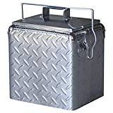 Creative Outdoor Stainless Steel Legacy Cooler w/Built-in Bottle Opener - Insulated Ice Chest Vintage Design, Chrome Diamond Plate