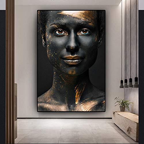 N / A Schwarz-Gold Frau Ölgemälde auf Leinwand Afrikanische Kunst Cuadros Poster und Drucke Skandinavische Wandkunst Bild für Wohnzimmer 50x75 cm ohne Rahmen