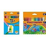 BIC Kids Tropicolors - Blíster de 18 unidades, lápices de surtidos + Plastidecor Ceras para Colorear, a partir de 30 meses – Surtidos, Blíster de 18 Unidades