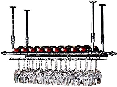 XLYYHZ Estante para Vino al revés Soporte para Botella de Vino de Estilo Simple Estante para Vino montado en la Pared Estante de exhibición de Metal para Vino, con decoración de Techo para b