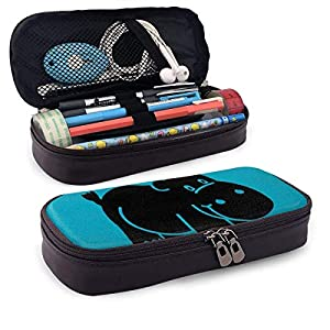 Hippo 26 PU cuero lápiz lápiz bolsa bolsa bolsa con cremallera suministros escolares para estudiante monedero neceser cosméticos maquillaje bolsa