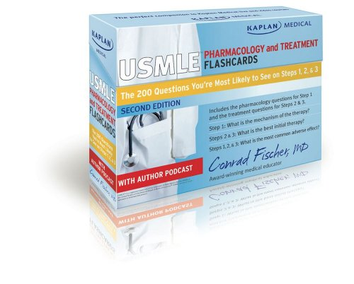 Kaplan Medical USMLE Pharmacology and Treatment Flashcards: The 200 Questions You?re Most Likely to See on Steps 1, 2 & 3 (USMLE Prep)