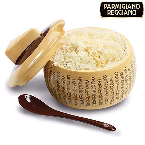 Parmesandose zur Aufbewahrung von Parmesankäse aus Keramik, für 150g Käse mit Löffel zum perfekten Portionieren (1)