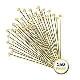 Jewelry Head Pins for Jewelry Making | Ship Straight and Unbent (150 Pieces, 3 Inches, 76mm, 22 Gauge)...