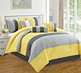 5 Piece Yellow/Grey/White Pleated Bed in A Bag Microfiber Comforter Set Twin Size Bedding. Perfect for Any Bed Room or Guest Room