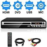 DVDプレーヤー Mic対応 1080Pサポート DVD/CD再生専用モデル HDMI端子搭載 CPRM対応、録画した番組や地上デジタル放送を再生する、USB、AV / HDMIケーブルが付属し、テレビに接続できます、リモコン、日本語説明書付き