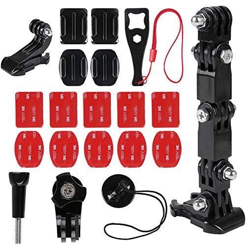 BESTZY Kamera Helm Halterung Zubehör Kit für von Erweiterungszubehör Action Kamera, Helm Front und Side Swivel Mount und Flat Curved Adhesive Mounts mit Sticky Pads