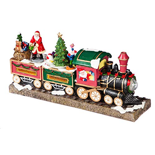 Cypress Home Beautiful Christmas Musical Train Scene with Animated Santa LED Table Top Décor - 15 x 4 x 7 Inches Indoor/Outdoor Decoration for Homes, Yards and Gardens