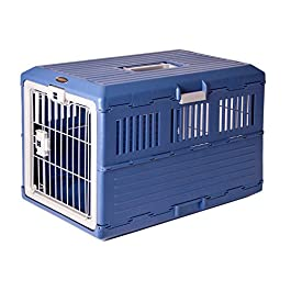 Iris Ohyama, Folding transport box / transport cage 2 doors, for dogs and cats max 20 kg – Pet Carry FC-670 – Plastic, Blue, 6 kg, 68.6 x 40.3 x 47.8 cm