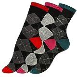 Vincent Creation 3 Paar Modische Damen Baumwoll Socken mit Karos CHECK