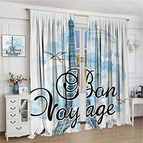 wonderr Blackout Draperies voor Baby Slaapkamer, Room Darkening Drapes, Giraffe, Vintage Safari Savannah met Animal Silhouettes en Abstract Sunset op Zigzags, Multi kleuren