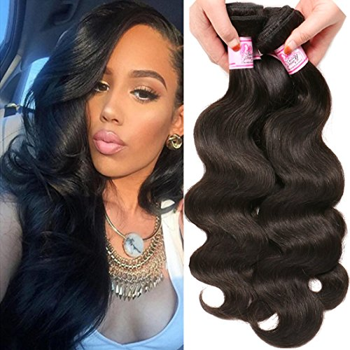 Beauty Forever Indian Body Wave Hair 3 Bundles Hair Extensions 100% Unprocessed Human Virgin Hair Weaves Natural Color 95-100g/pc (20 22 24)