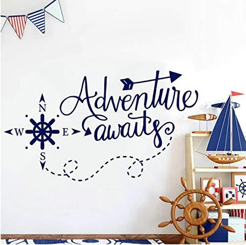 Adventure Awaits, calcomanías de pared, decoración del hogar, habitación de niños y niñas, brújula náutica, vinilo, decoración de guardería, pegatina de pared extraíble 57x32cm