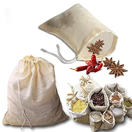 Gaosheng 3 Stück wiederverwendbare Suppentaschen mit Kordelzug aus Baumwolle, zum Abtropfen von Kräutern, Seihtuch, Kaffee, Tee, Brauchtaschen, Suppe, Brühbeutel, Knochenbrühbeutel (25 x 20.8 cm)