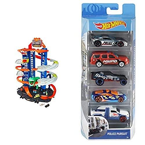 Hot Wheels Ultimate Garage, Garaje y Pista para Coches de Juguete + Pack de 5 vehículos, Coches de Juguete + Track Builder Contenedor Lanzador, tramos y Accesorios para Pistas de Coches de Juguetes