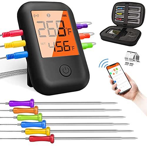 FOLNG Grillthermometer mit 6 Fühlern, kabelloses Fleischthermometer, Grillthermometer digital-geeignet für Barbecue Grills, Smoker, Küchen, Backöfen, unterstützt iOS und Android