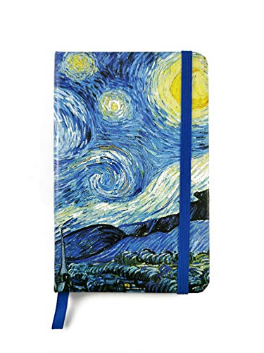 Notebook Van Gogh - Taccuino artistico tascabile con copertina rigida e chiusura ad elastico, diario da viaggio con pagine a righe (A6) (Notte stellata)