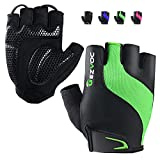 GEZVOC Cycling Gloves Bike Gloves Biking Gloves for Men with Shock-Absorbing Pad, Extra Grip,Flexible and Comfortable Fit,Light Weight,Breathable Mountain Bike Gloves (Green, Large)