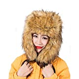 Kiner - Gorro de piel para mujer, para invierno, gorra de caza, color amarillo