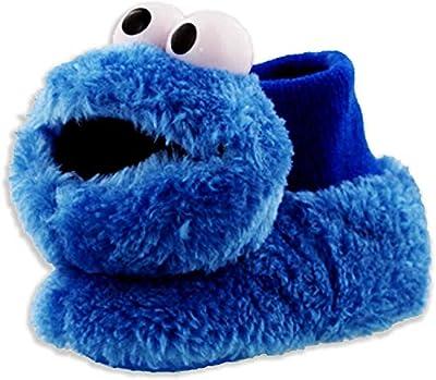 Sesame Street Cookie Monster Toddler Boys Girls Plush 3D Head Sock Top Slippers (5-6 M US Toddler, Cookie Monster Blue)