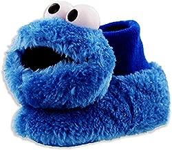 Sesame Street Cookie Monster Toddler Boys Girls Plush 3D Head Sock Top Slippers (3-4 M US Toddler, Cookie Monster Blue)