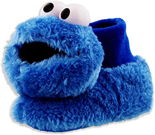 Sesame Street Elmo Cookie Monster Boys Girls Sock Top Slippers (Toddler/Little Kid) (Cookie Monster Blue, Numeric_9)