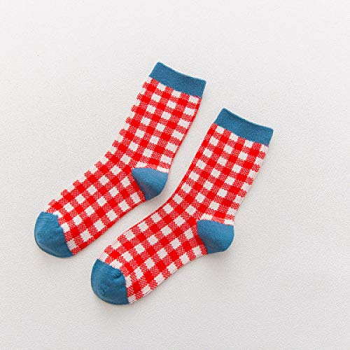 Générique Bedruckte Socken, Harajuku Neuheit Crew Cotton Classic Plaid Art Socks Elegante Funky Fantasie Casual Office Happy Orange Sox Unisex Damen