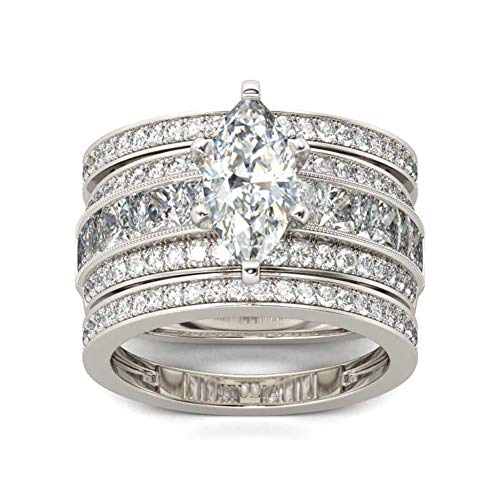 JEULIA 2 Carat 3PC Wedding Ring Set for Women Marquise Cut CZ Engagement Rings Sterling Silver Oval Cubic Zirconia Bridal Set Solitaire Diamond Anniversary Promise Rings for Her with Jewelry Box