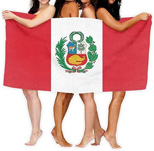 Toalla De Playa Microfibra,Bandera del Estado De Perú Anti-Arena,Fuerte Absorción De Agua Súper Blando Y Secado Rápido,para Deportes,Viajes,Natación,Playa,Yoga O Baño 130×80cm