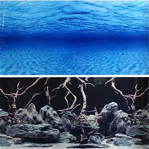 """donau 11.6"""" High Aquarium Background Poster Ocean Woods Double Sides Fish Tank Landscape Backdrop Wall Paper Décor (11.6"""" H x 24"""" L)"""