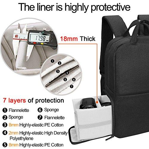CADeN Kamerarucksack Fotorucksack Wasserabweisend Diebstahl Geschützter Travel Kamera Tasche Fall mit USB-Ladeanschluss Kompatibel mit DSLR Canon Nikon Sony (M,Schwarz)