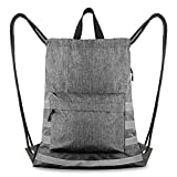 1 Pack Drawstring Backpack Oxford Cloth Blue Reflective Drawstring Bags with Front Zipper Bag Inside & Side Pouch for Men Women Gym Shopping Sport Outing, Heather Grey