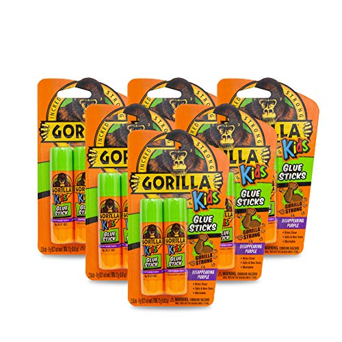 Gorilla Kids Disappearing Purple Glue Sticks, Two 6 gram Sticks, (Pack of 6) - 100547
