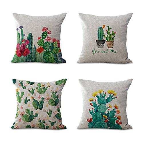 Fundas Decorativas, KINIFE 4Pcs Algodón de Lino Cactus Funda de Cojín 45cmX45cm para Sofá Cama(1 Set)