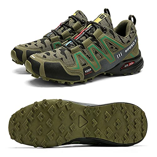 CHUIKUAJ Zapatillas de Ciclismo Zapatillas de Bicicleta de Carretera para Hombre Zapatillas de Bicicleta de Montaña Zapatillas de MTB,Zapatos para Correr Casuales,Green-41EU