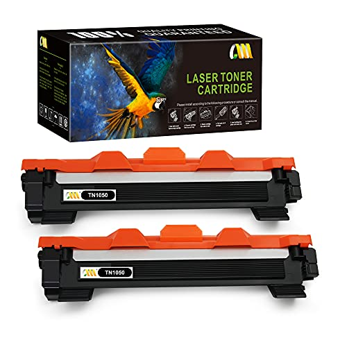 CMCMCM 2PK Cartucho de tóner compatible para Brother TN1050 TN-1050 compatible con Brother HL-1212w HL-1110 DCP-1510 DCP-1610w DCP-1612W MFC-1910w HL-1112 HL-1210W DCP-1512 MFC-1810 (2 Negro)